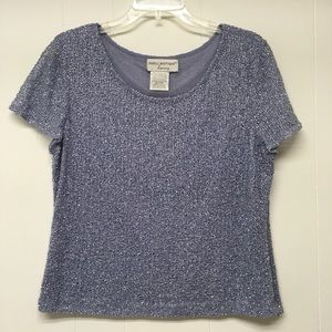 Papell Boutique Evening Beaded Top Lavender Large